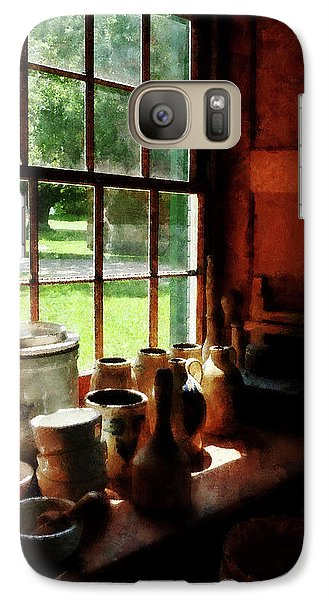 Galaxy Case featuring the photograph Clay Jars On Windowsill by Susan Savad