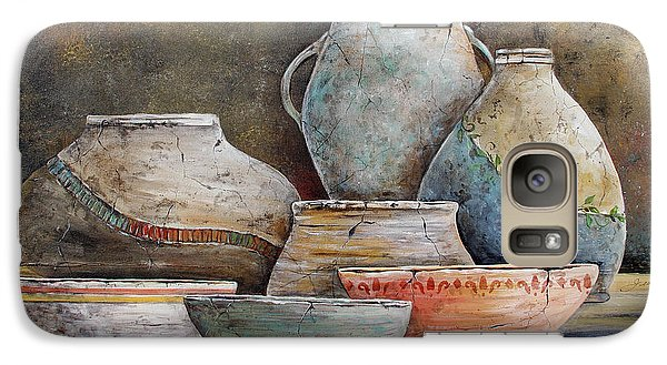 Galaxy Case featuring the painting Clay Pottery Still Lifes-a by Jean Plout