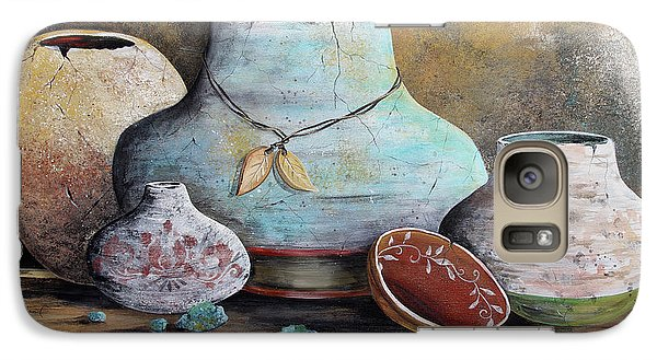 Galaxy Case featuring the painting Clay Pottery Still Lifes-b by Jean Plout