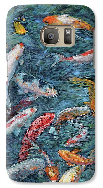 Galaxy Case featuring the painting Clear Creek Koi With Painted On Mat by Charles Munn