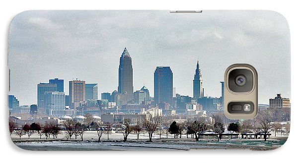 Galaxy Case featuring the photograph Cleveland Skyline In Winter by Bruce Patrick Smith