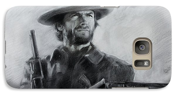 Galaxy Case featuring the drawing Clint Eastwood by Viola El