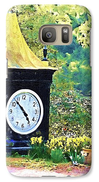 Galaxy Case featuring the photograph Clock Tower In The Garden by Donna Bentley