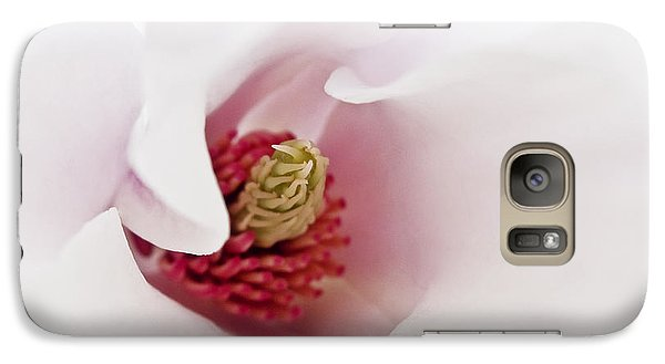 Galaxy Case featuring the photograph Abstract White Red Pink Flowers Macro Photography Art  by Artecco Fine Art Photography