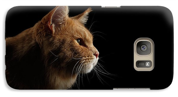 Cat Galaxy S7 Case - Close-up Portrait Ginger Maine Coon Cat Isolated On Black Background by Sergey Taran
