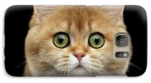 Cat Galaxy S7 Case - Close-up Portrait Of Golden British Cat With Green Eyes by Sergey Taran