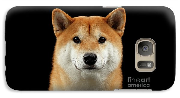 Close-up Portrait Of Head Shiba Inu Dog, Isolated Black Background Galaxy S7 Case by Sergey Taran