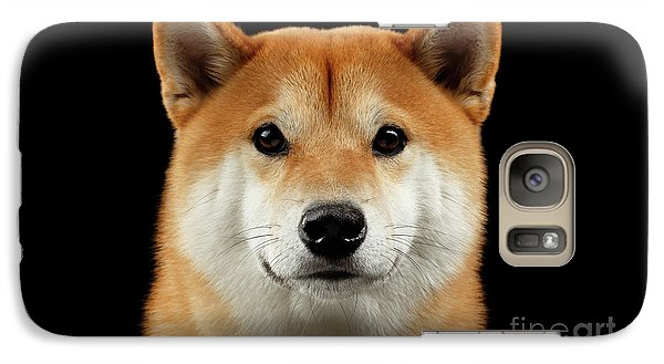 Close-up Portrait Of Head Shiba Inu Dog, Isolated Black Background Galaxy Case by Sergey Taran