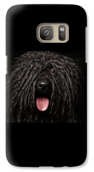 Close Up Portrait Of Puli Dog Isolated On Black Galaxy S7 Case by Sergey Taran