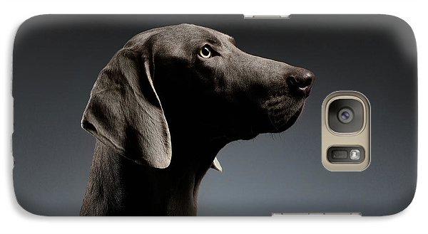 Close-up Portrait Weimaraner Dog In Profile View On White Gradient Galaxy S7 Case