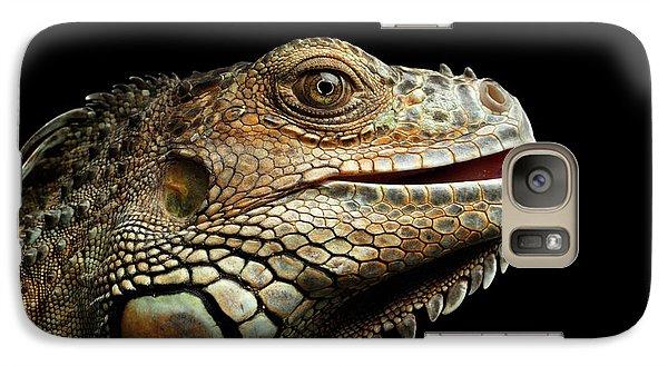 Close-upgreen Iguana Isolated On Black Background Galaxy S7 Case
