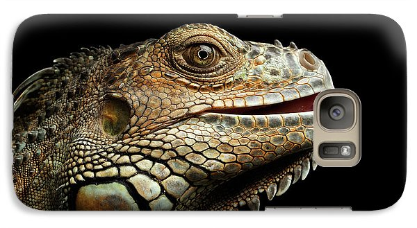 Close-upgreen Iguana Isolated On Black Background Galaxy S7 Case by Sergey Taran