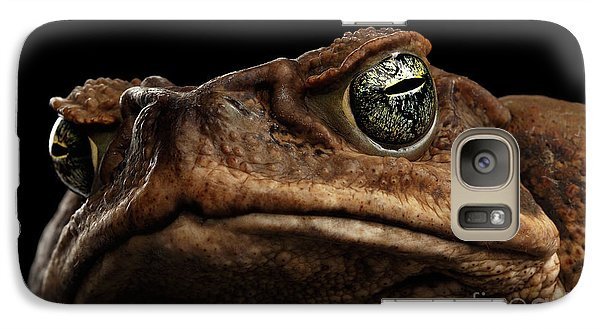 Closeup Cane Toad - Bufo Marinus, Giant Neotropical Or Marine Toad Isolated On Black Background Galaxy S7 Case