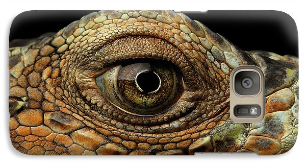 Closeup Eye Of Green Iguana, Looks Like A Dragon Galaxy S7 Case by Sergey Taran
