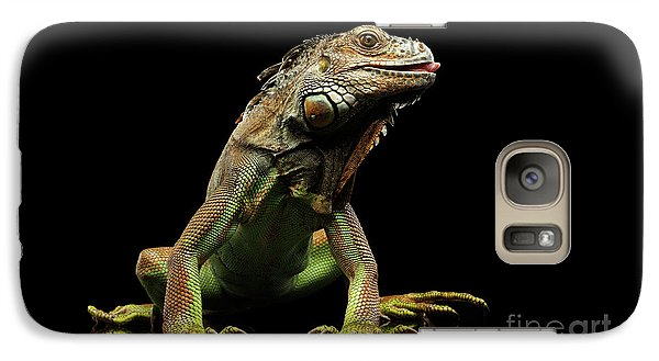 Closeup Green Iguana Isolated On Black Background Galaxy S7 Case by Sergey Taran