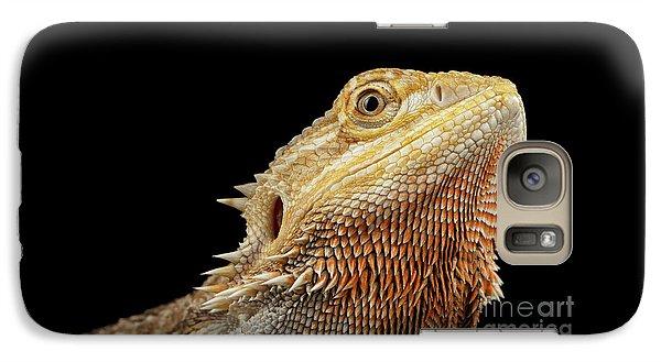 Closeup Head Of Bearded Dragon Llizard, Agama, Isolated Black Background Galaxy S7 Case