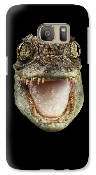 Closeup Head Of Young Cayman Crocodile , Reptile With Opened Mouth Isolated On Black Background, Fro Galaxy S7 Case