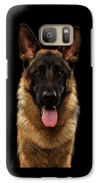 Closeup Portrait Of German Shepherd On Black  Galaxy S7 Case