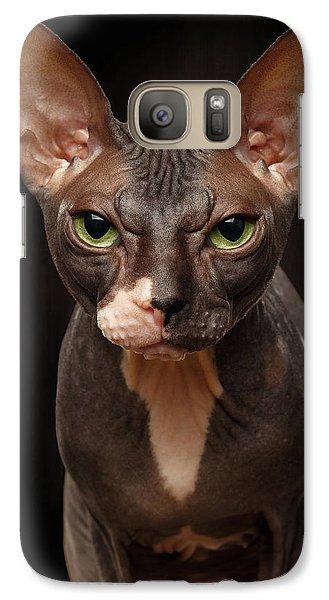 Cat Galaxy S7 Case - Closeup Portrait Of Grumpy Sphynx Cat Front View On Black  by Sergey Taran