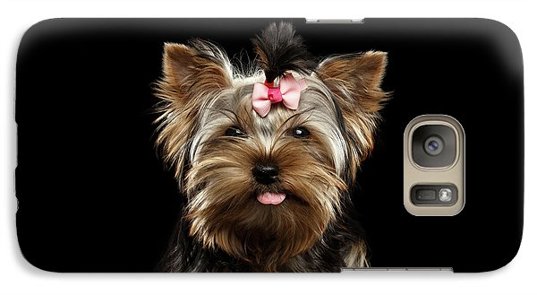 Closeup Portrait Of Yorkshire Terrier Dog On Black Background Galaxy S7 Case