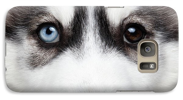 Closeup Siberian Husky Puppy Different Eyes Galaxy S7 Case