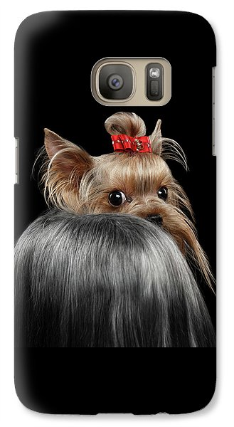Closeup Yorkshire Terrier Dog, Long Groomed Hair Pity Looking Back Galaxy S7 Case