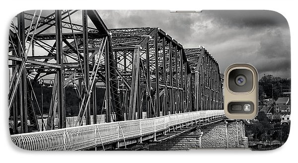 Galaxy Case featuring the photograph Clouds Over Walnut Street Bridge In Black And White by Greg Mimbs