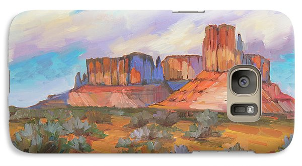 Galaxy Case featuring the painting Clouds Passing Monument Valley by Diane McClary