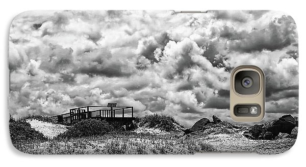 Galaxy Case featuring the photograph Cloudy Beach Black And White By Kaye Menner by Kaye Menner