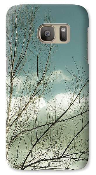 Galaxy Case featuring the photograph Cloudy Blue Sky Through Tree Top No 1 by Ben and Raisa Gertsberg
