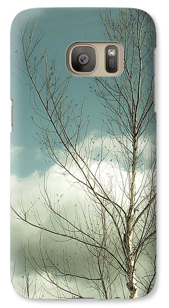 Galaxy Case featuring the photograph Cloudy Blue Sky Through Tree Top No 2 by Ben and Raisa Gertsberg