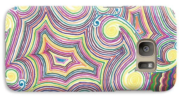 Galaxy Case featuring the drawing Cloudy Chaos by Jill Lenzmeier