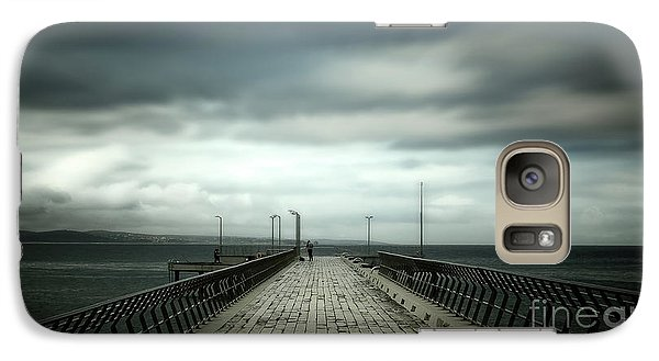 Galaxy Case featuring the photograph Cloudy Pier by Perry Webster