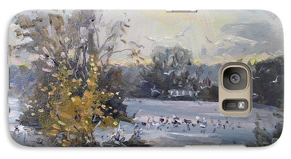 Seagull Galaxy S7 Case - Cloudy Sunset In Niagara Falls River  by Ylli Haruni