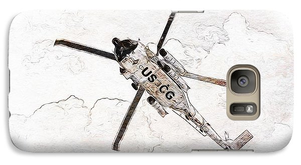 Galaxy Case featuring the digital art Coast Guard Helicopter by Aaron Berg
