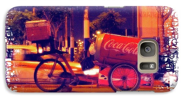 Galaxy Case featuring the photograph Coca Cola Tricycle Bin - Lima by Mary Machare