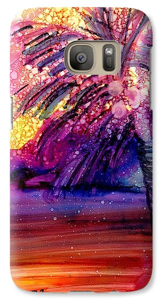 Galaxy Case featuring the painting Coconut Palm Tree 2 by Marionette Taboniar