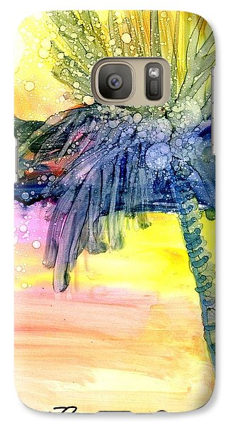Galaxy Case featuring the painting Coconut Palm Tree 3 by Marionette Taboniar
