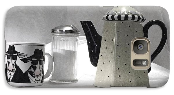 Galaxy Case featuring the photograph Coffee In Black And White by Donna Dixon