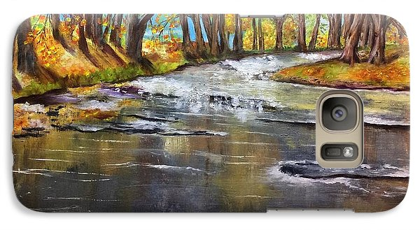 Galaxy Case featuring the painting Cold Day At The Creek by Annamarie Sidella-Felts