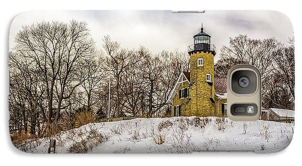 Galaxy Case featuring the photograph Cold Day At White River Lighthouse by Nick Zelinsky