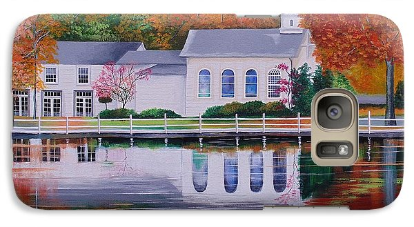 Galaxy Case featuring the painting Cold Spring Harbor St Johns Church by Nereida Rodriguez