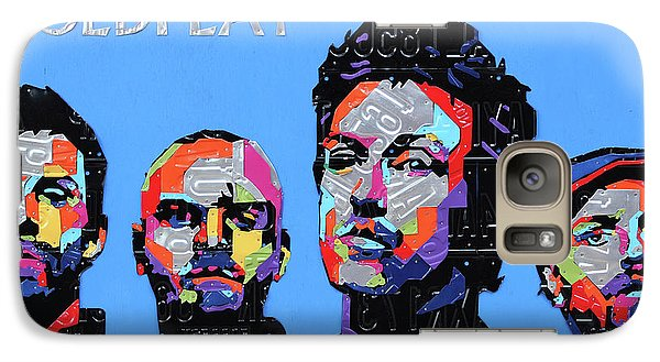 Coldplay Band Portrait Recycled License Plates Art On Blue Wood Galaxy S7 Case