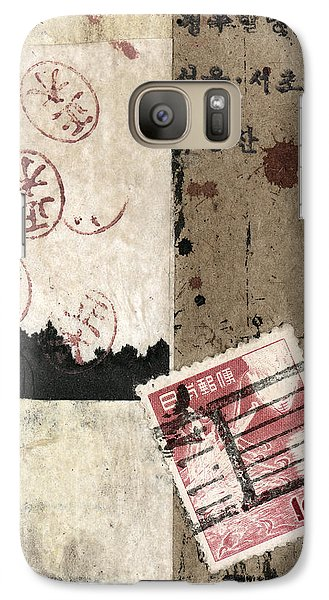Galaxy Case featuring the mixed media Collage Envelope Detail Hanko by Carol Leigh