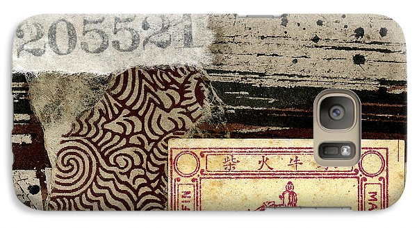 Galaxy Case featuring the mixed media Collage Envelope Detail Monkey Water Buffalo by Carol Leigh