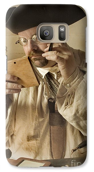 Galaxy Case featuring the photograph Colonial Man Shaving by Kim Henderson