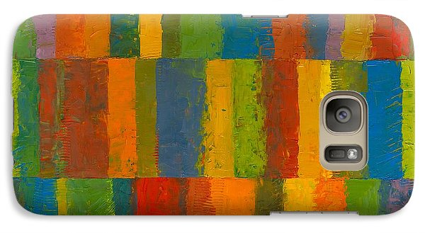 Galaxy S7 Case featuring the painting Color Collage With Stripes by Michelle Calkins