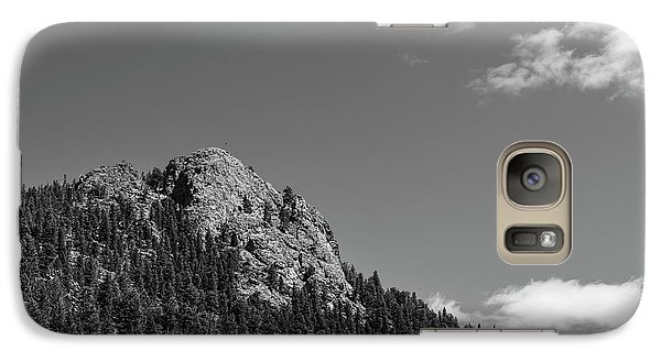Galaxy Case featuring the photograph Colorado Buffalo Rock With Waxing Crescent Moon In Bw by James BO Insogna