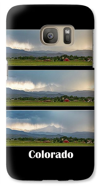 Galaxy Case featuring the photograph Colorado Front Range Longs Peak Lightning And Rain Poster by James BO Insogna