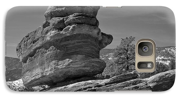 Galaxy Case featuring the photograph Colorado Springs Balanced Rock Black And White by Adam Jewell